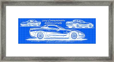 Framed Print featuring the drawing 2004 Commemorative Edition Corvette Blueprint by K Scott Teeters