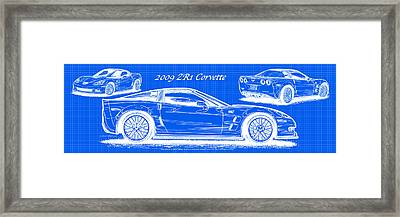 2009 C6 Zr1 Corvette Blueprint Framed Print