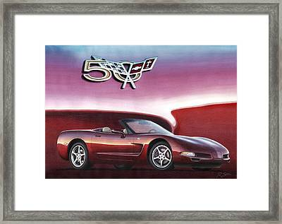 50th Anniversary Corvette Framed Print by Rod Seel