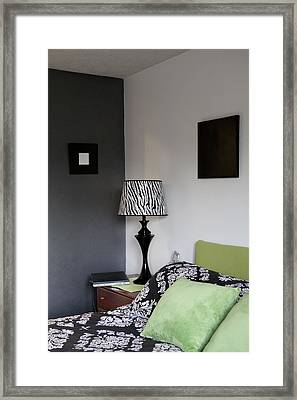 A Bedroom In A House. A Double Bed Framed Print by Christian Scully