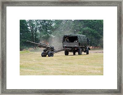 A Belgian Artillery Unit Setting Framed Print by Luc De Jaeger
