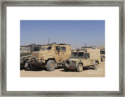 A British Armed Forces Snatch Land Framed Print by Andrew Chittock