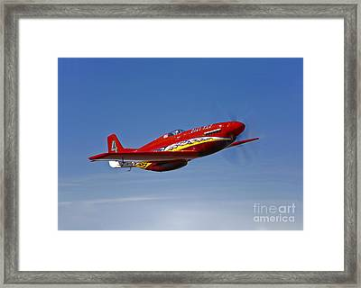 A Dago Red P-51g Mustang In Flight Framed Print by Scott Germain