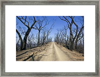 A Dirt Road Runs Along A Mountain Top Framed Print
