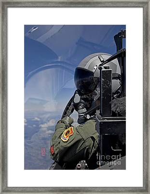 A F-15 Pilot  Looks Over At His Wingman Framed Print by HIGH-G Productions