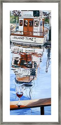 Framed Print featuring the painting A Glass Of Wine And Island Time by Rae Andrews