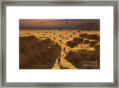 A Mixed Herd Of Dinosaurs Migrate Framed Print