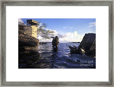 A Pair Of Navy Seal Combat Swimmers Framed Print by Michael Wood