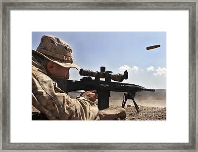 A Scout Sniper Fires His Mk-11 Sniper Framed Print by Stocktrek Images