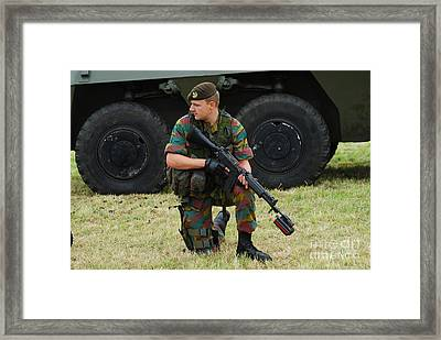 A Soldier Of An Infantry Unit Framed Print by Luc De Jaeger