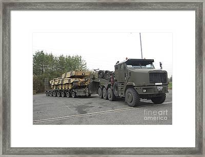 A Tank Transporter Hauling A Challenger Framed Print
