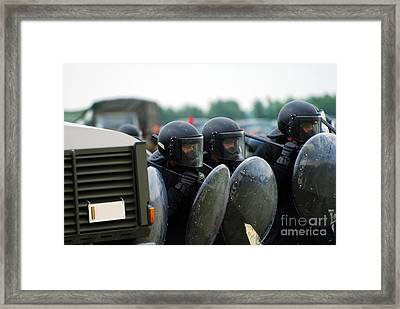 A Training Session In Riot And Crowd Framed Print by Luc De Jaeger