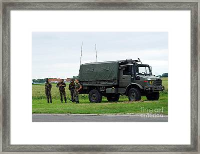 A Unimog Vehicle Of The Belgian Army Framed Print by Luc De Jaeger