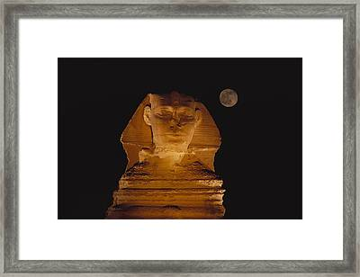 A View Of The Great Sphinx At Night Framed Print by Bill Ellzey