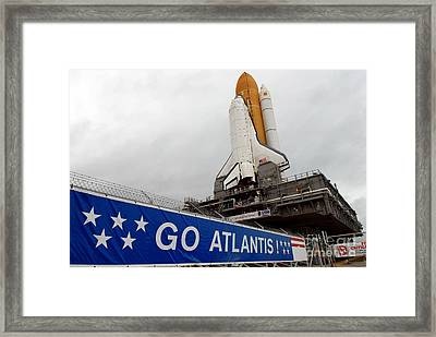 A View Space Shuttle Atlantis On Launch Framed Print by Stocktrek Images