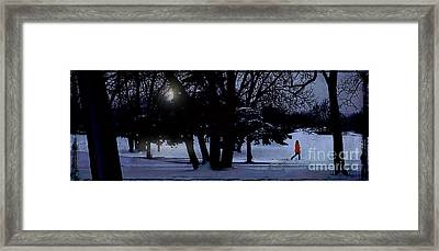 A Walk In The Snow Framed Print by Jim Wright