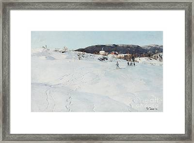 A Winter's Day In Norway Framed Print by Fritz Thaulow