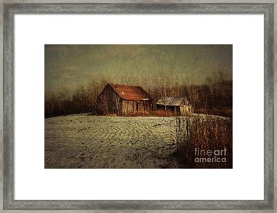Abandoned Barn After The First Snow Framed Print by Sandra Cunningham