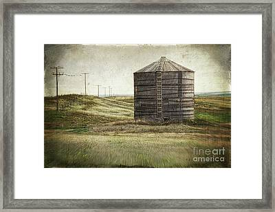 Abandoned Wood Grain Storage Bin In Saskatchewan Framed Print by Sandra Cunningham