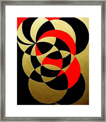 Abstract In Gold Black And Red Framed Print