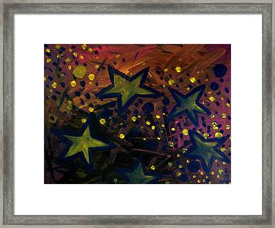 Framed Print featuring the painting Abstract Stars by Monica Furlow