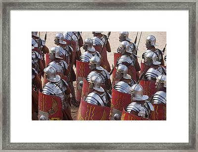 Actors Re-enact A Roman Legionaries Framed Print by Taylor S. Kennedy