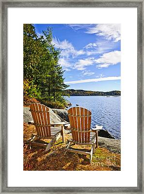 Adirondack Chairs At Lake Shore Framed Print