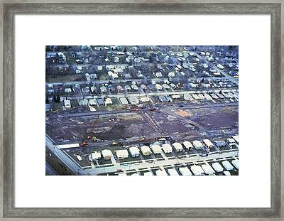 Aerial View Of Clean Up Operations Framed Print by Everett