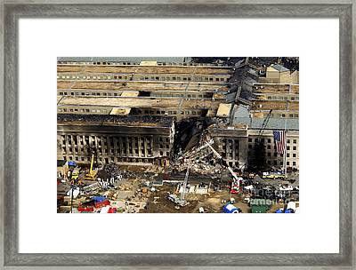 Aerial View Of The Terrorist Attack Framed Print