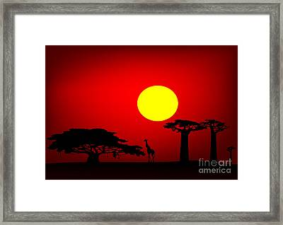 Africa Sunset Framed Print by Michal Boubin