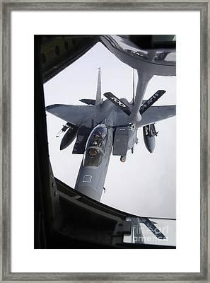 Air Refueling A F-15e Strike Eagle Framed Print by Daniel Karlsson