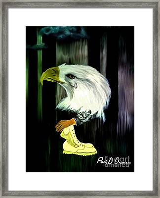 Framed Print featuring the painting American Eagle Cries by Ayasha Loya