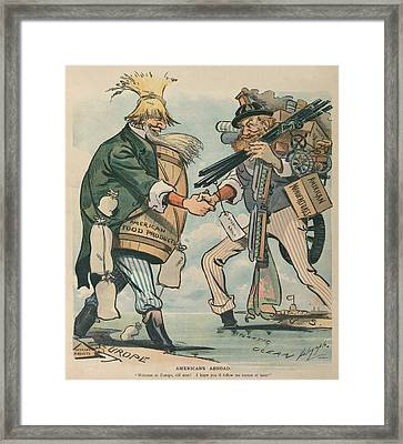 Americans Abroad. Cartoon Captioned Framed Print by Everett