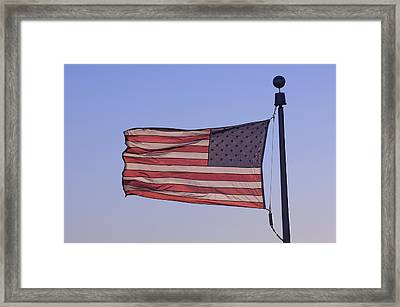 An American Flag At Sunrise Framed Print by Joel Sartore