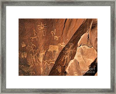 Ancient Indian Petroglyphs Framed Print by Gary Whitton