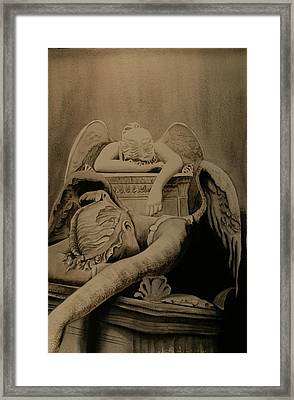 Framed Print featuring the painting Angel Of Grief  by Teresa Beyer