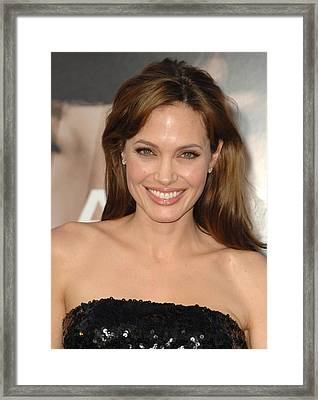 Angelina Jolie At Arrivals For Salt Framed Print