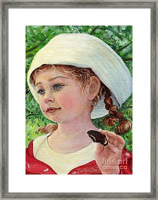 Annie In Dad's Sailor Hat Framed Print by Dee Davis