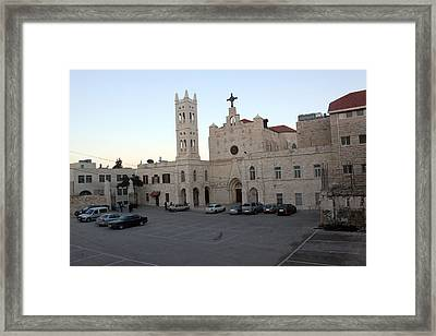 Annunciation Latin Church In Beit Jala Framed Print by Munir Alawi