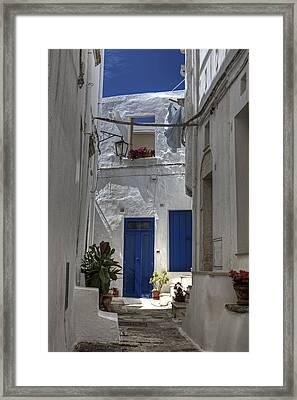 Apulia - Blue-white Framed Print by Joana Kruse
