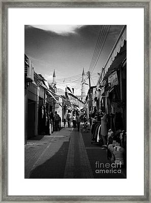 arasta street shopping area leading from border checkpoint to the selimiye mosque in nicosia TRNC Framed Print by Joe Fox