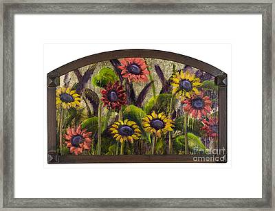 Arched Sunflowers With Gold Leaf By Vic Mastis Framed Print by Vic  Mastis