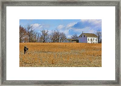 Artist In Field Framed Print by William Jobes