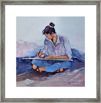 Artist In Pink And Blue Framed Print