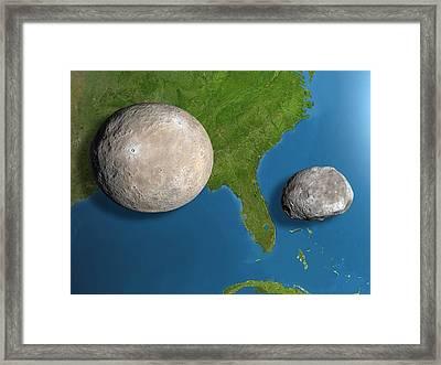 Asteroids Ceres And Vesta, Scale Artwork Framed Print by Chris Butler