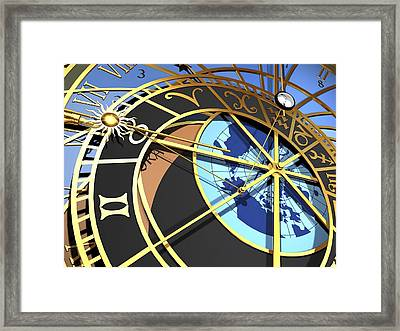 Astronomical Clock, Artwork Framed Print by Pasieka