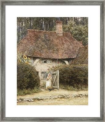At The Cottage Gate Framed Print by Helen Allingham