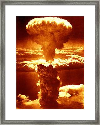 Atomic Burst Over Nagasaki, 1945 Framed Print by Us National Archives And Records Administration