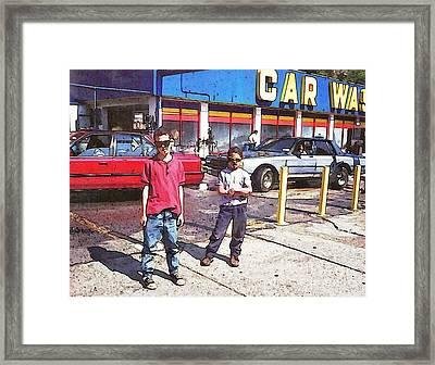 Attitude At The Car Wash Framed Print by Sarah Loft