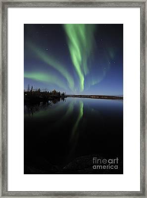 Aurora Borealis Over Long Lake Framed Print by Jiri Hermann
